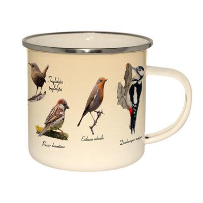 Emaille mok vogels