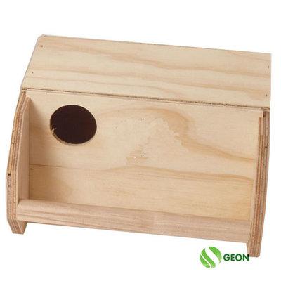 Broedkast parkiet liggend hout